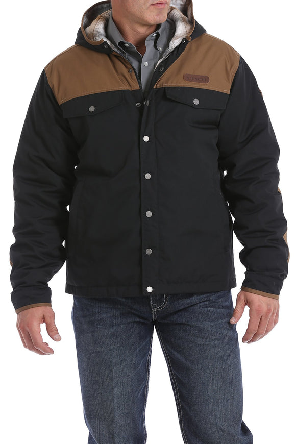 Cinch Color Blocked Canvas Barn Coat - Brown/Black