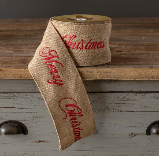 Burlap Ribbon- Red Embroidered