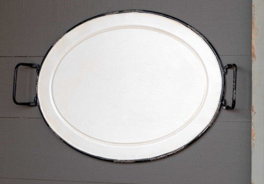 Oblong Enamel Painted Tray