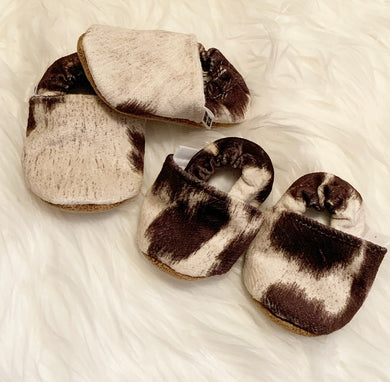 Trendy Baby Moccasins | Faux Cowhide