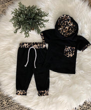 Load image into Gallery viewer, Black + Leopard Jogger Set