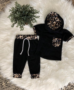 Black + Leopard Jogger Set