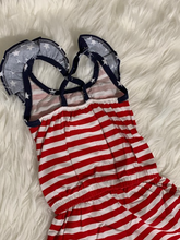 Load image into Gallery viewer, Stars + Stripes Ruffle Romper