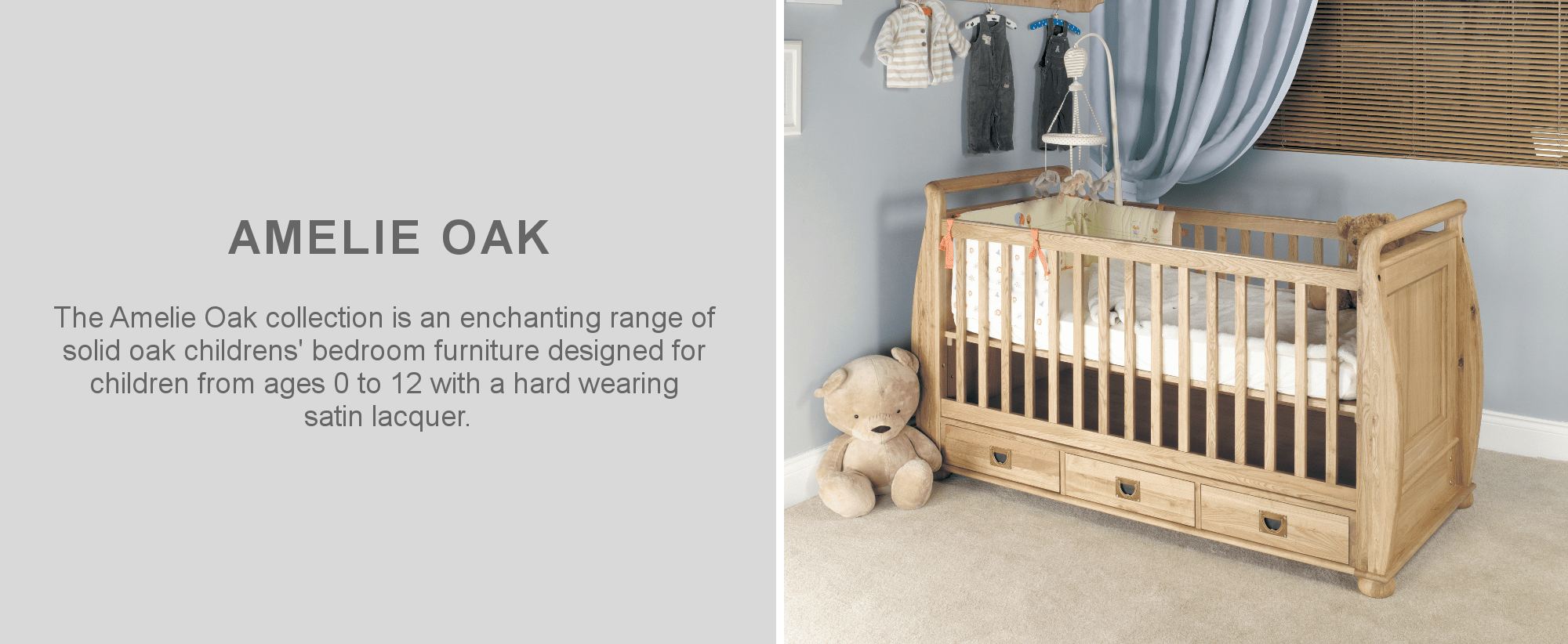 Amelie childrens oak cot furniture in childs bedroom