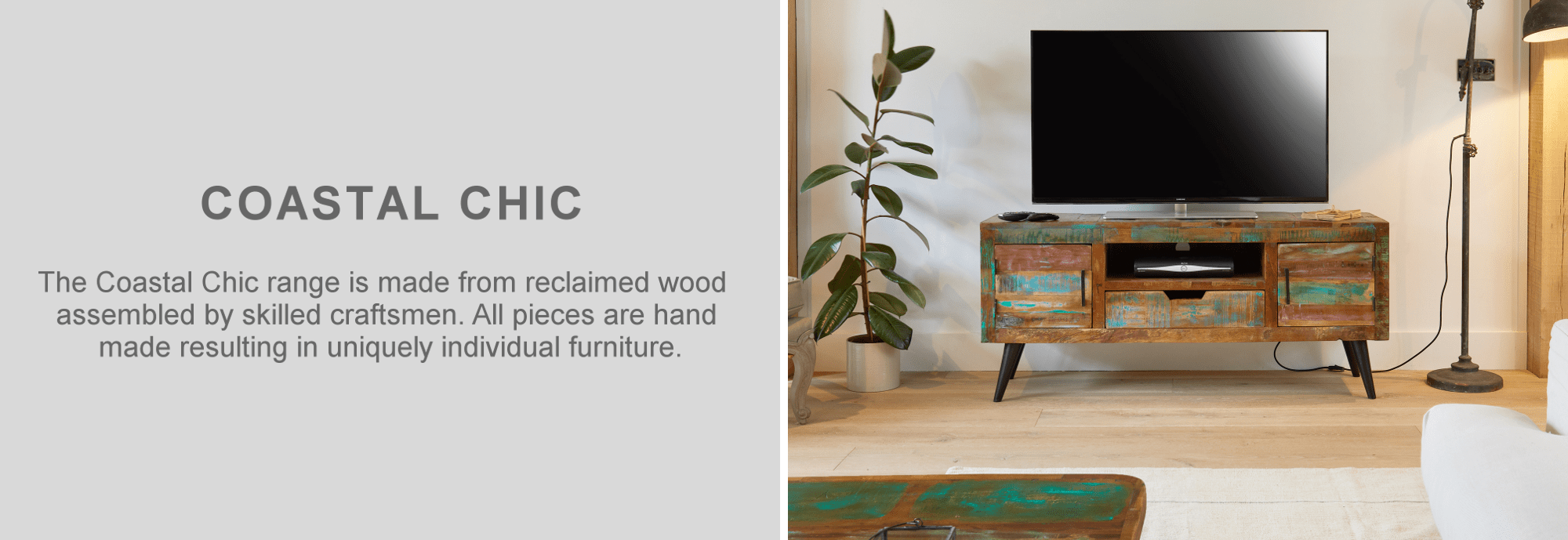 Coastal chic reclaimed wood television cabinet furniture in living room