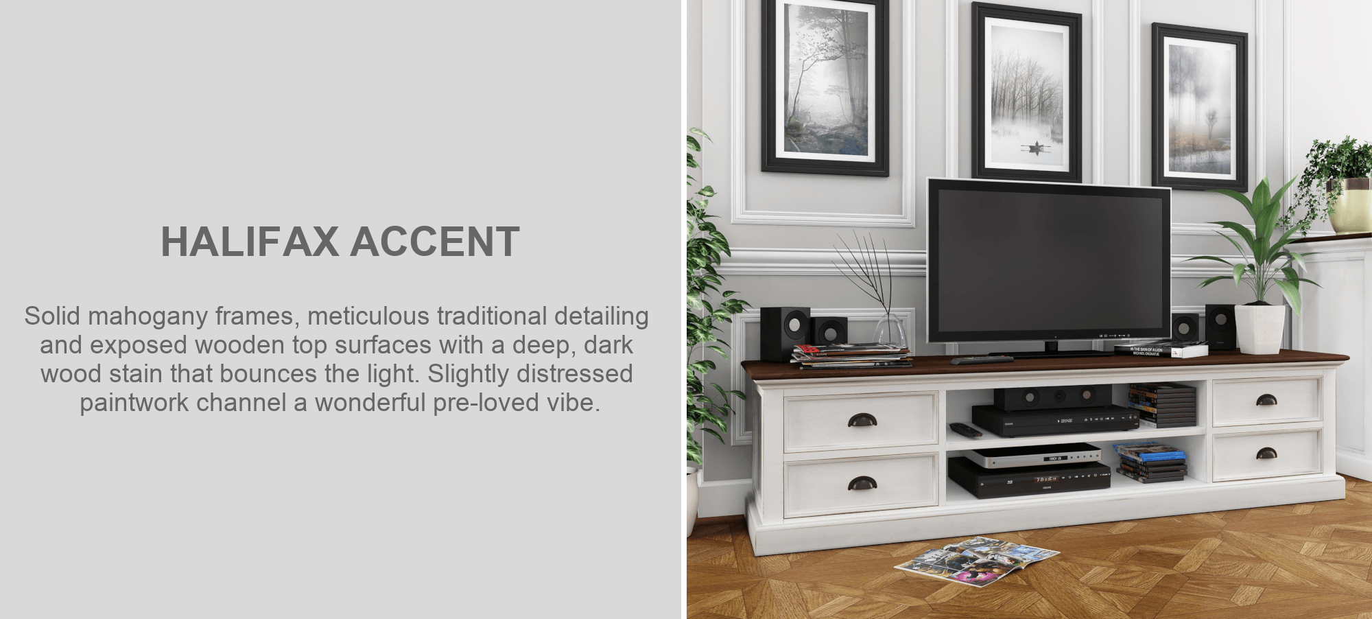 Halifax Accent mahogany wide television cabinet furniture in living room