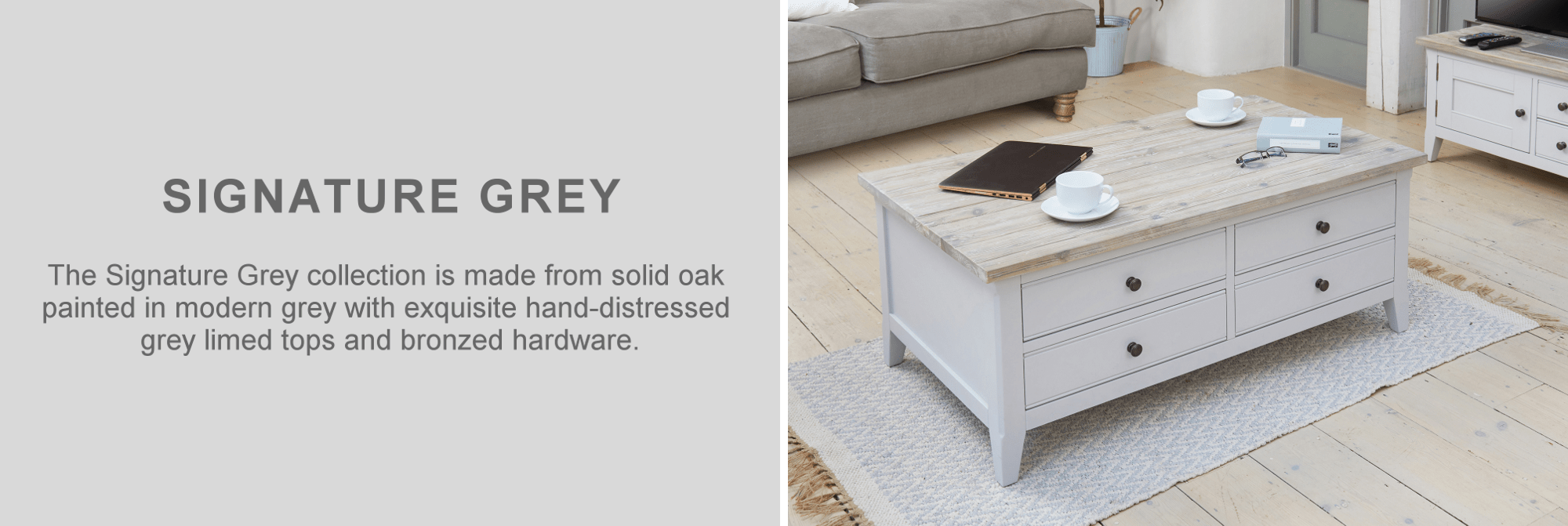 Signature grey painted oak coffeee table furniture in living room