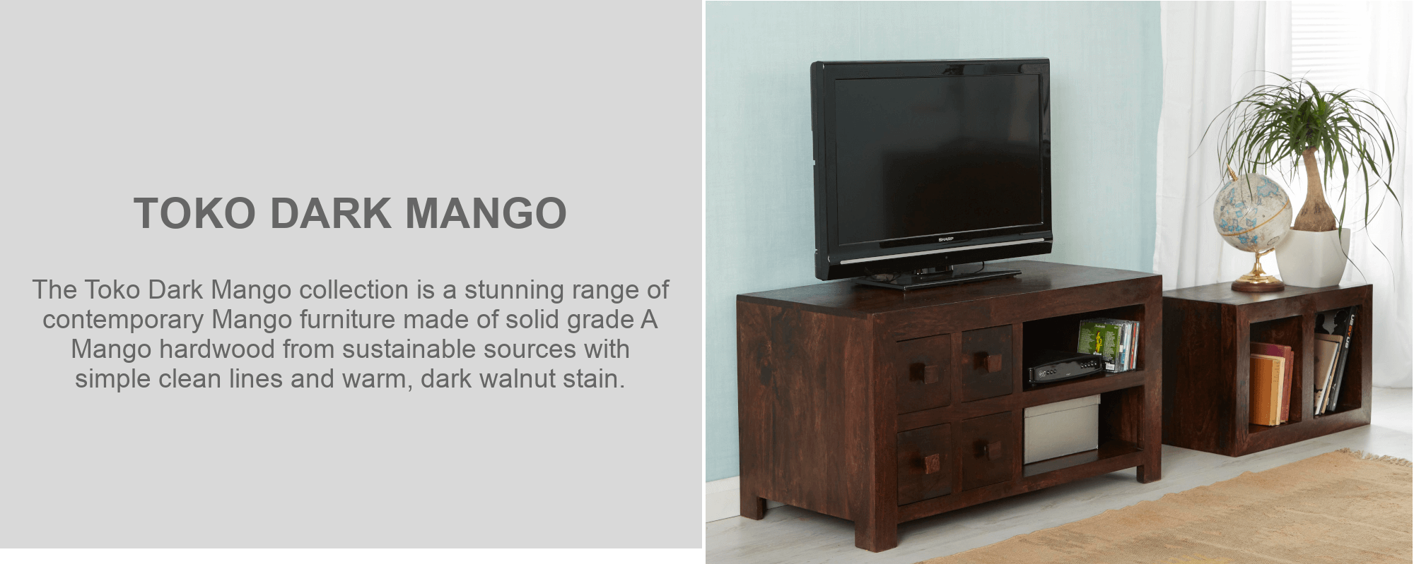 Toko dark mango tv cabinet and side table furniture