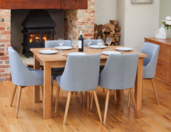 mobel oak hidden extending dining table seats 4 8 with 6 oak dining chairs upholstered in grey