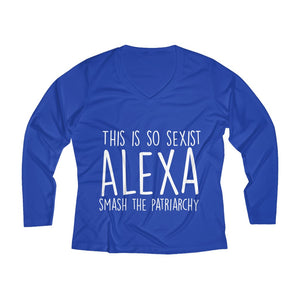 Women's Long Sleeve Alexa Smash The Patriarchy V-neck Tee