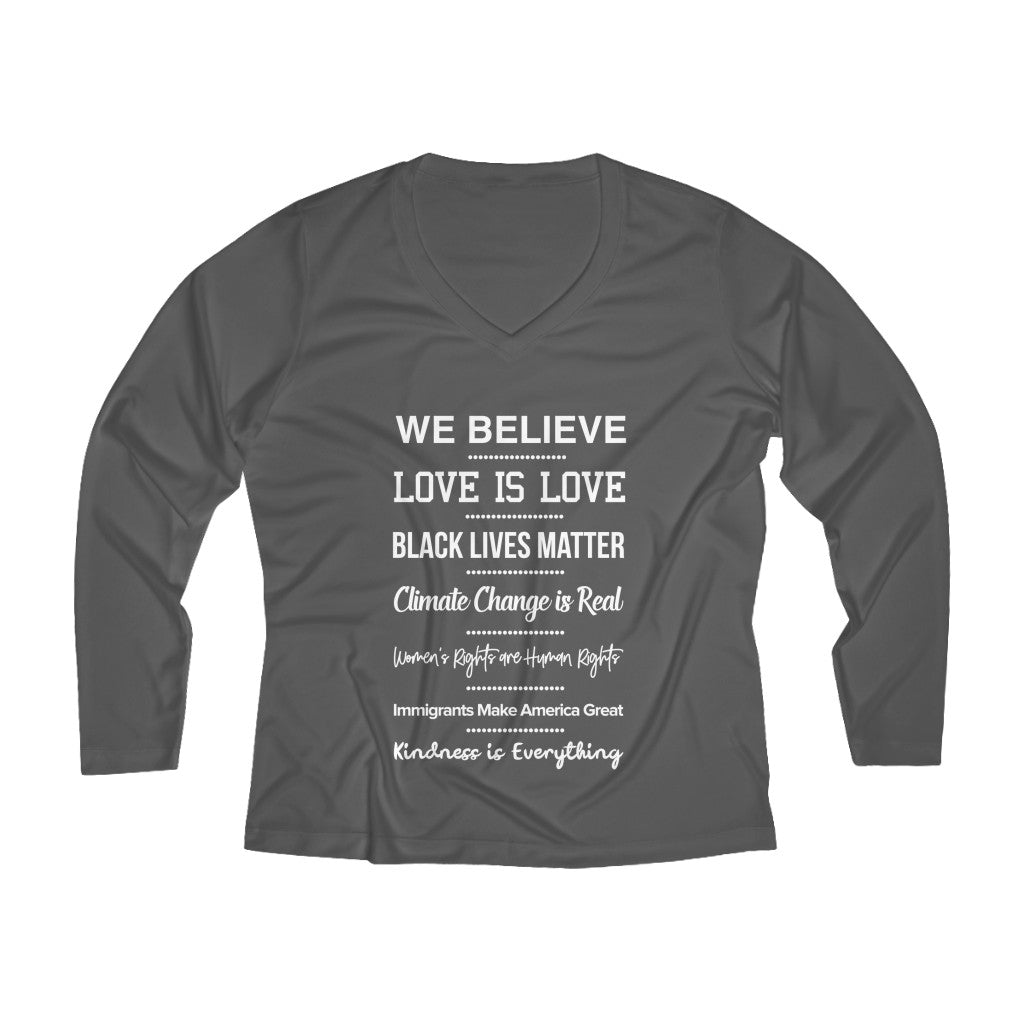 We Believe Long Sleeve V-neck Tee
