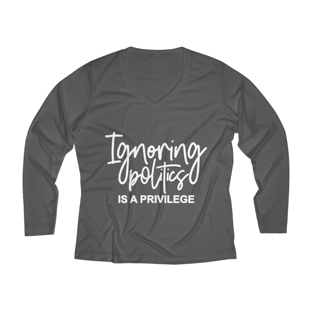 Ignoring Politics Long Sleeve V-neck Tee