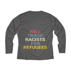 Will Trade Racist Long Sleeve V-neck Tee