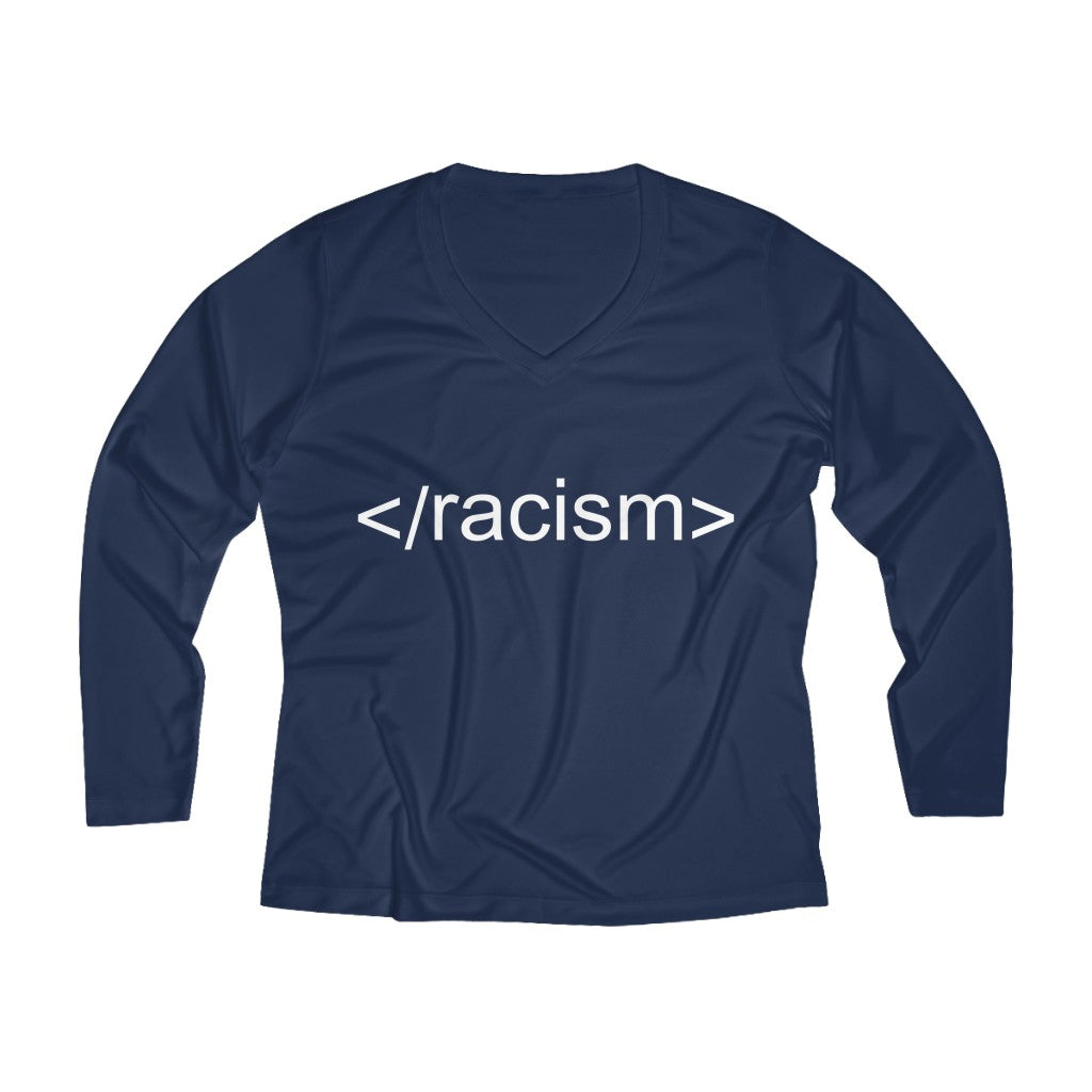 End Racism HTML Code Long Sleeve V-neck Tee