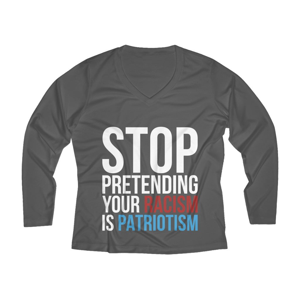Stop Pretending Long Sleeve V-neck Tee