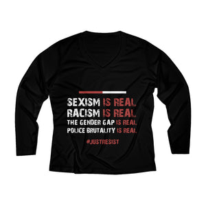 Sexism Is Real Long Sleeve V-neck Tee