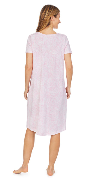 Pink Paisley Soft Jersey Knits Waltz Gown