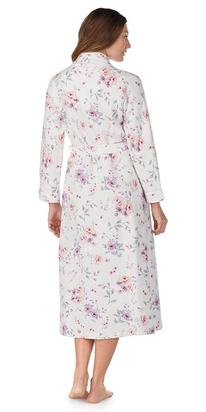 Multi Rose Floral Diamond Quilt Long Wrap Robe