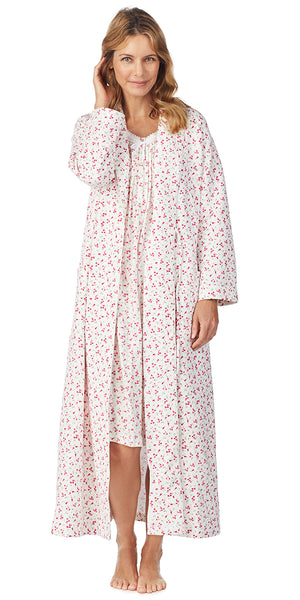 Red Ditsy Floral Diamond Quilt Long Wrap Robe