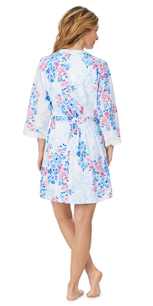 Watercolor Floral Soft Jersey Short Wrap Robe & Gown Set