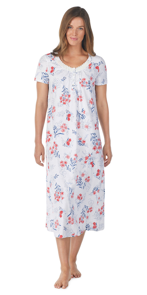 LARGE FLORAL SOFT JERSEY S/S LONG GOWN – Carole Hochman