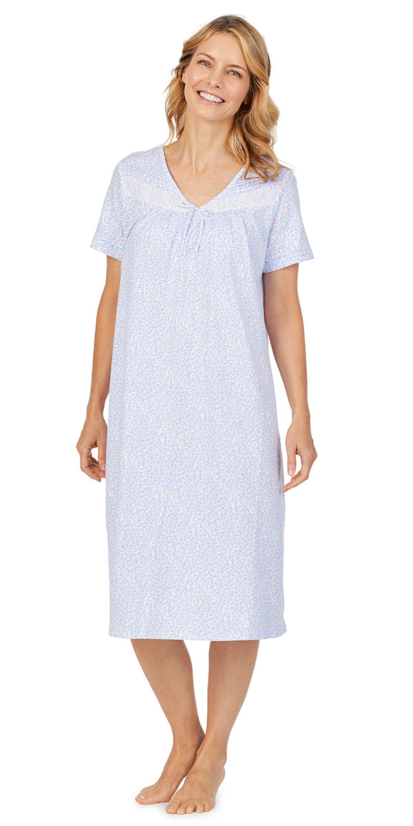 White & Peri Ditsy Soft Jersey Short Sleeve Waltz Gown