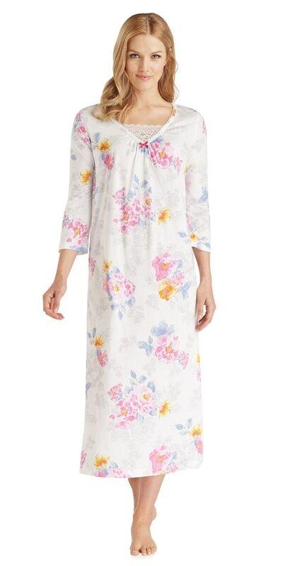 Cotton Jersey Long Gown - Sketch Flora