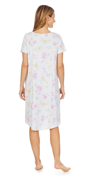Wild Roses Print Soft Jersey Knits Waltz Gown