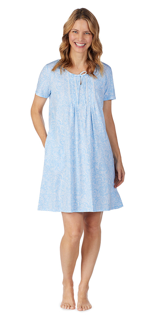Blue Paisley Soft Jersey Short Gown Plus Size