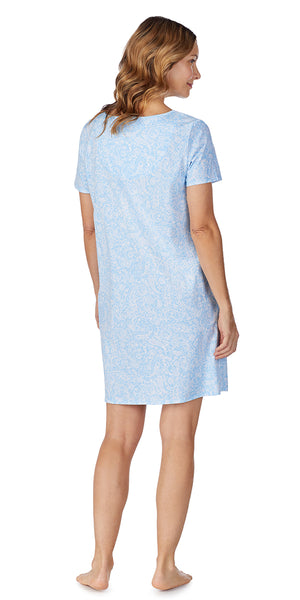 Blue Paisley Soft Jersey Short Gown