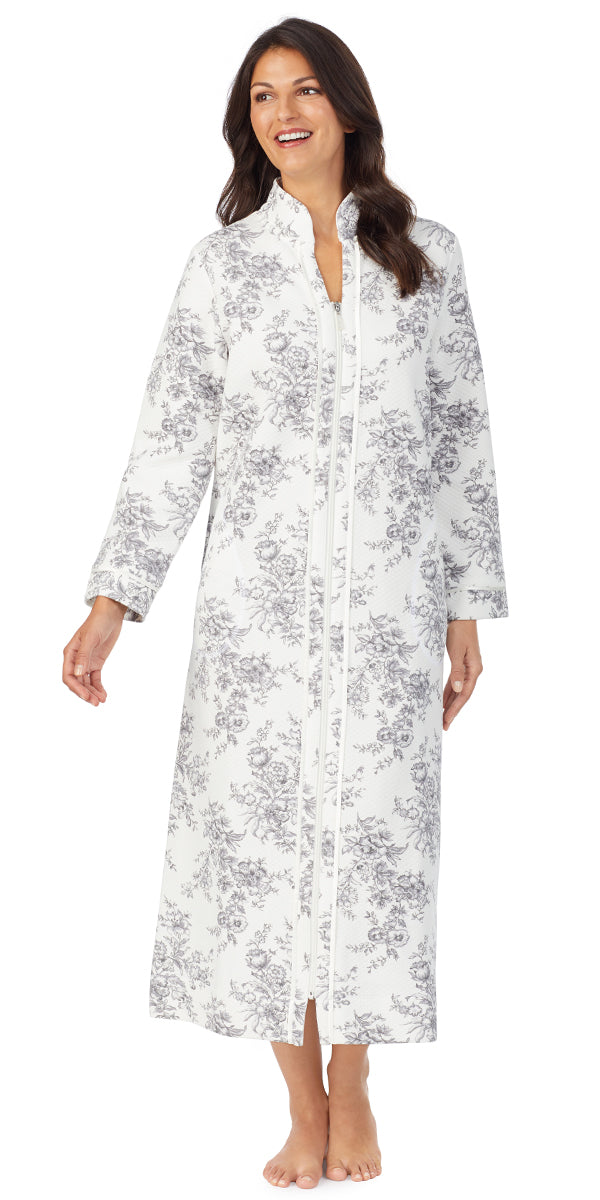 Grey Toile Diamond Quilt Long Sleeve Long Zip Front Robe