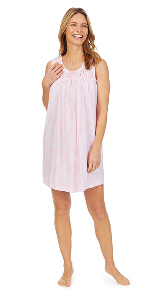 Pink Paisley Soft Jersey Knits Short Sleeveless Gown