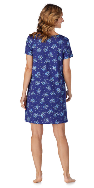 Navy Floral Bunches Soft Jersey Short Gown