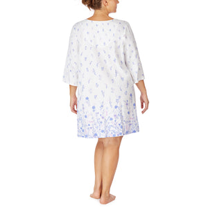 White Floral Border Soft Jersey 3/4 Sleeve Short Nightgown - Plus Size