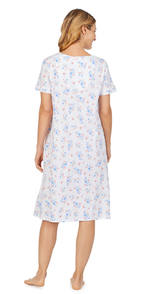 White Multi Floral Soft Jersey Short Sleeve Waltz Gown