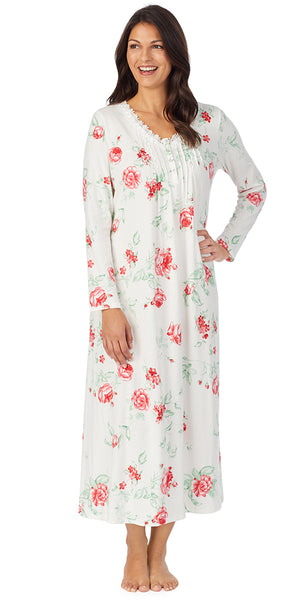 Red Rose Soft Jersey Long Sleeve Long Gown