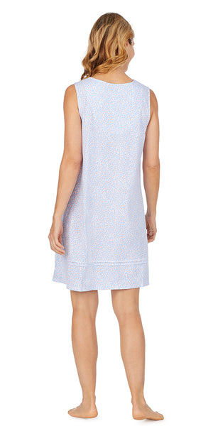 White & Peri Ditsy Soft Jersey Sleeveless Short Gown - Plus