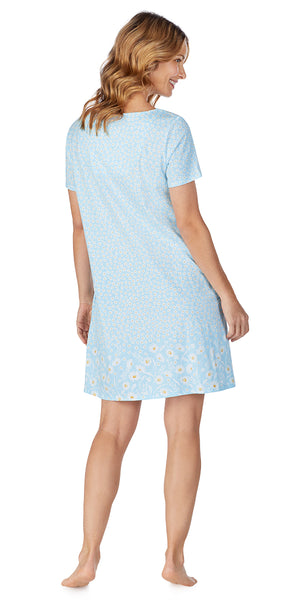 Blue Daisy Border Soft Jersey Short Gown