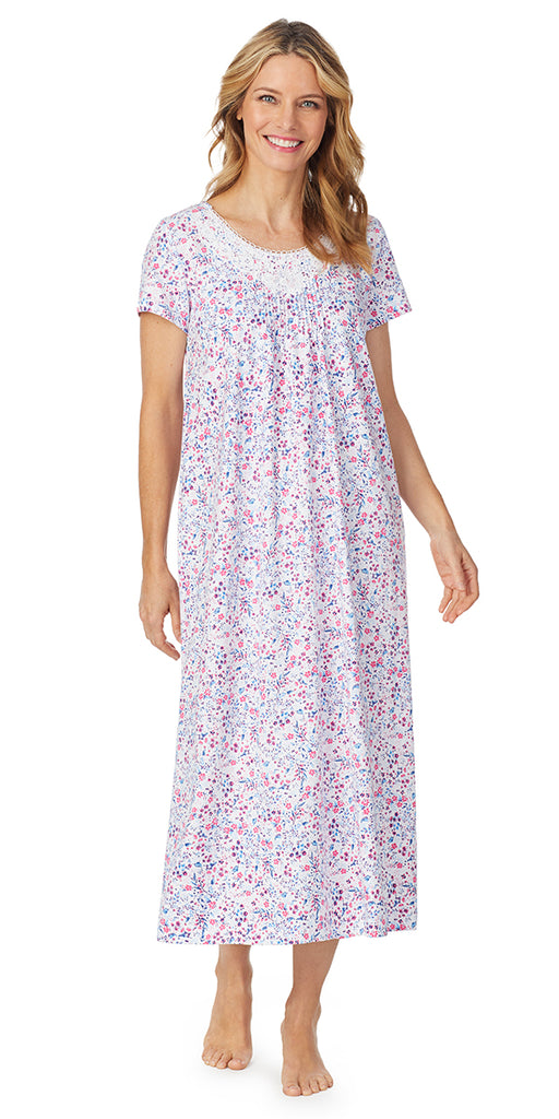 Pink Multi Ditsy Luxe Jersey Short Sleeve Long Gown