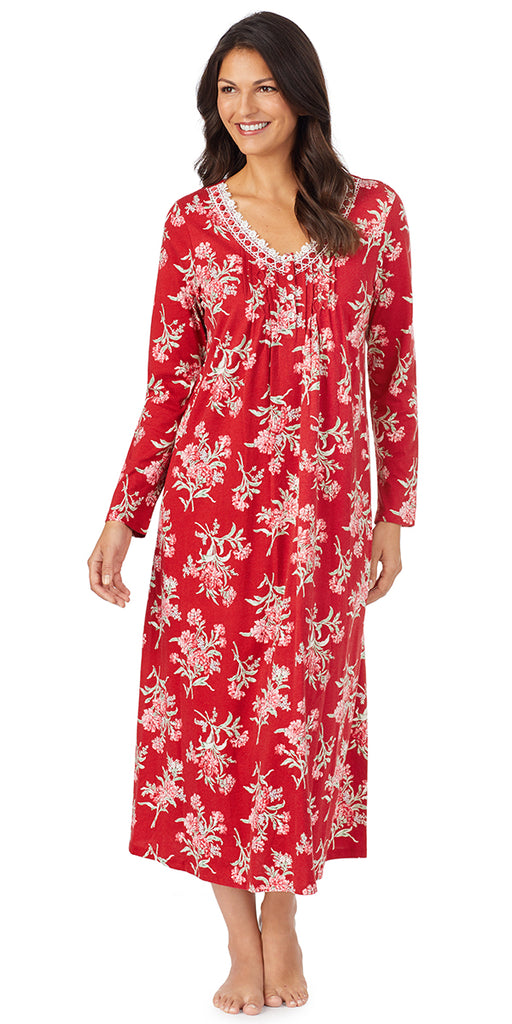 Red & Pink Floral Long Sleeve Long Gown