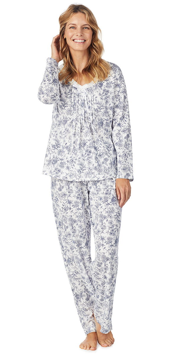 NAVY TOILE FLORAL SOFT JERSEY LONG PJ
