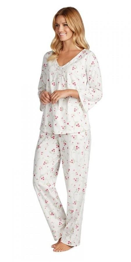 Soft Jersey 3/4 Sleeve Long Pajama - Vine Floral
