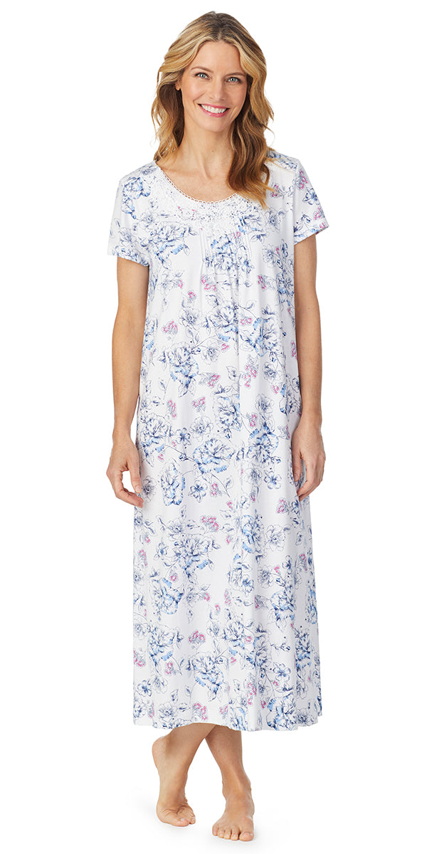 Navy Hand Drawn Floral Luxe Jersey Short Sleeve Long Gown