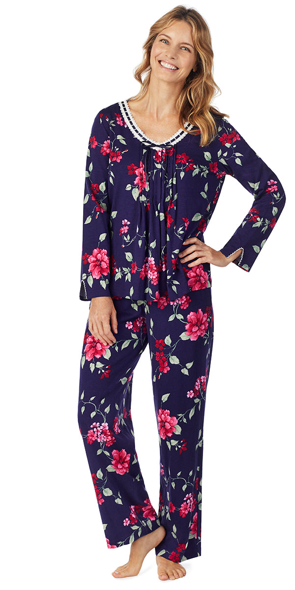 RED FLORAL SOFT JERSEY LONG PJ