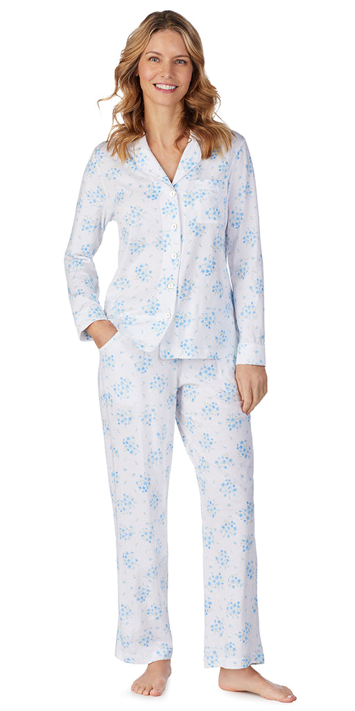 White Floral Bunches Soft Jersey Long PJ