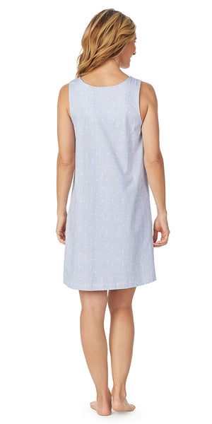 Navy & White Luxe Jersey Sleeveless Short Gown - Plus Size