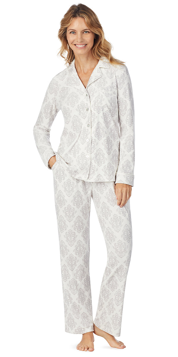 Ivory Damask Luxe Cozy Fleece Long PJ