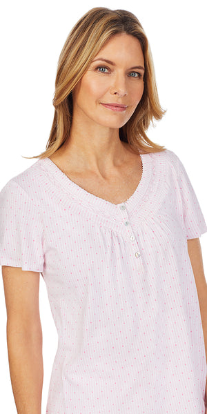 Pink Dot & Stripe Soft Jersey Knits Short Sleeve Long Pj