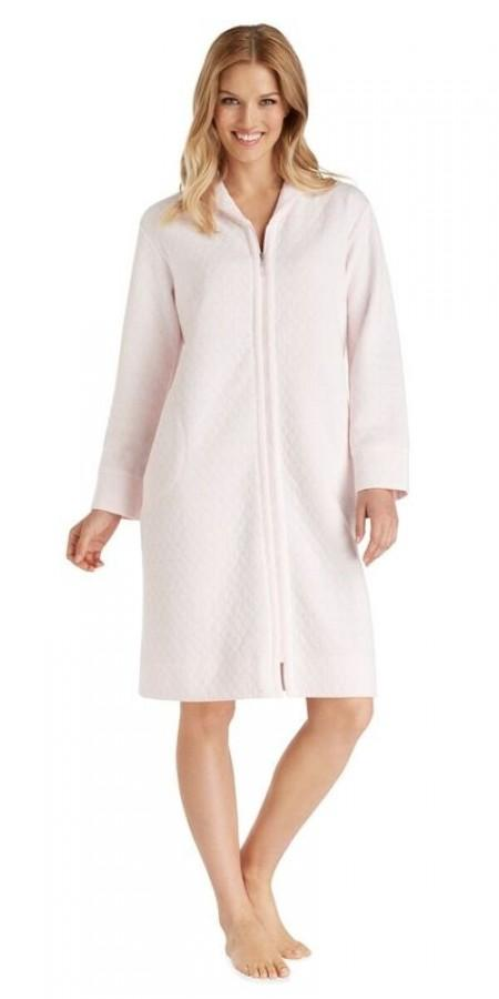 Diamond Quilt Short Zip Robe - PinkIce