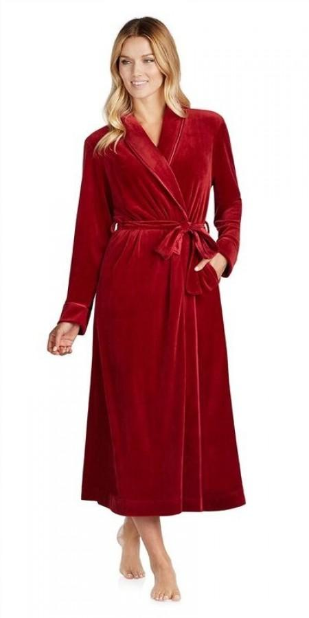 Plush Luxe Velour Robe - Cranberry